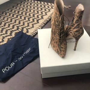 Animal print lace-up boots by PLV